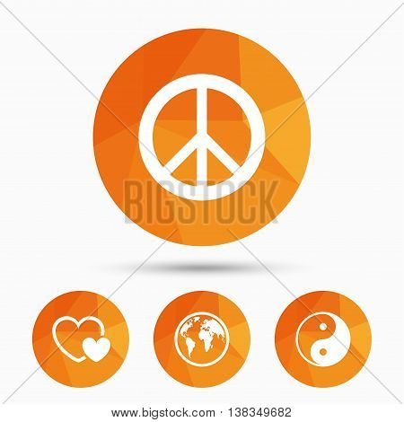 World globe icon. Ying yang sign. Hearts love sign. Peace hope. Harmony and balance symbol. Triangular low poly buttons with shadow. Vector