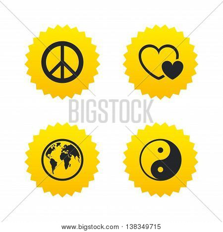World globe icon. Ying yang sign. Hearts love sign. Peace hope. Harmony and balance symbol. Yellow stars labels with flat icons. Vector