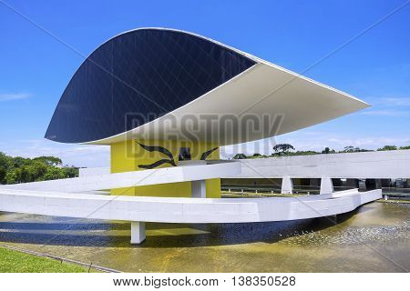 Curitiba, Brazil - December 14, 2015: Oscar Niemeyer Museum, also known as MON, in Curitiba, Parana State, Brazil.