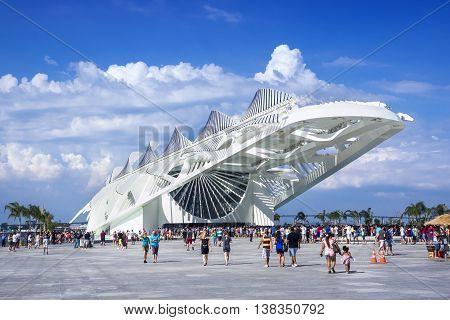 Rio de Janeiro, Brazil - December 19, 2015: Tourists at the Museum of Tomorrow (Museu do Amanha), designed by Spanish architect Santiago Calatrava, in Rio de Janeiro, Brazil.