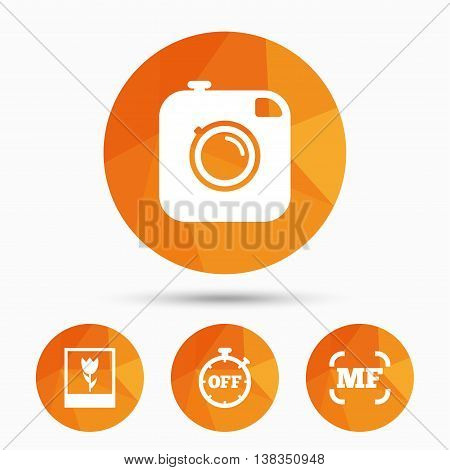 Hipster retro photo camera icon. Manual focus symbols. Stopwatch timer off sign. Macro symbol. Triangular low poly buttons with shadow. Vector