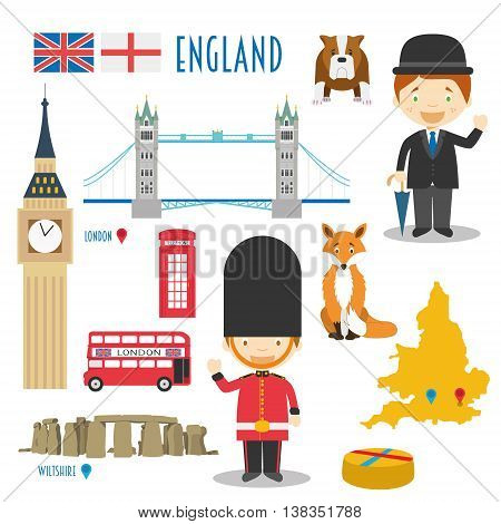England Flat Icon Set Travel and tourism concept. Vector illustration