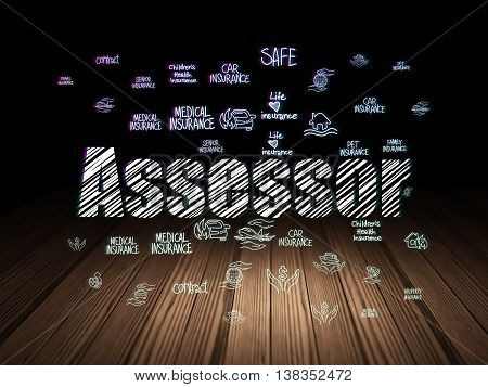 Insurance concept: Glowing text Assessor,  Hand Drawn Insurance Icons in grunge dark room with Wooden Floor, black background