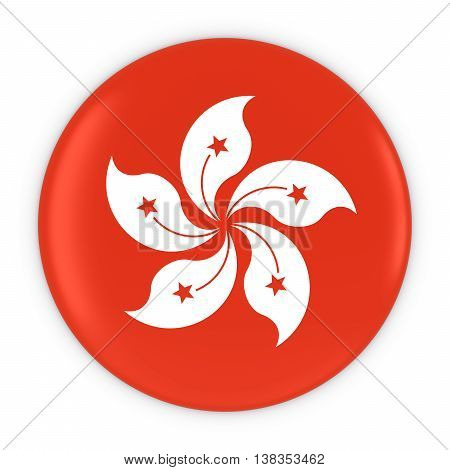 Hong Kongese Flag Button - Flag Of Hong Kong Badge 3D Illustration