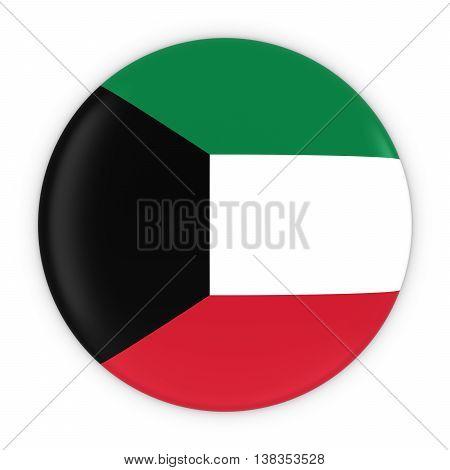 Kuwaiti Flag Button - Flag Of Kuwait Badge 3D Illustration