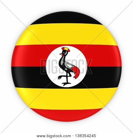 Ugandan Flag Button - Flag Of Uganda Badge 3D Illustration