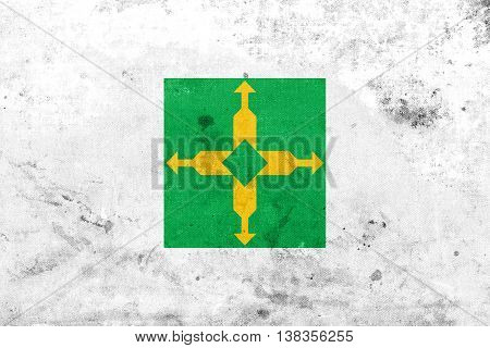 Flag Of Brasilia, Distrito Federal, Brazil, With A Vintage And Old Look