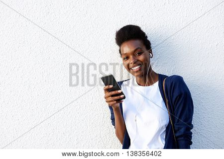 Young Black Woman Listening To Music