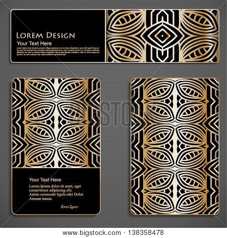 set of black and gold business cards and header templates with hand drawn tribal ornament, mandala, for greeting, invitation card, or cover. Vector illustration
