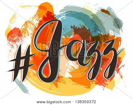 Vector Hashtag Jazz Lettering on Spot Background, orange and red