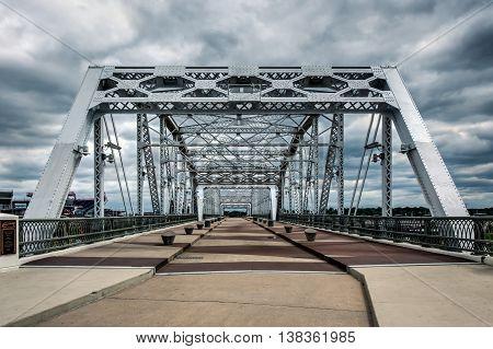 Pedestrian bridge crosses the Cumberland River in Nashville, TN
