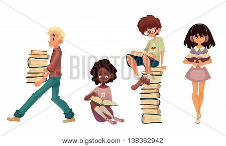 Set of children reading books, cartoon style vector illustration isolated on white background. Boy and girls sitting or walking and reading books, boy with a stack of books