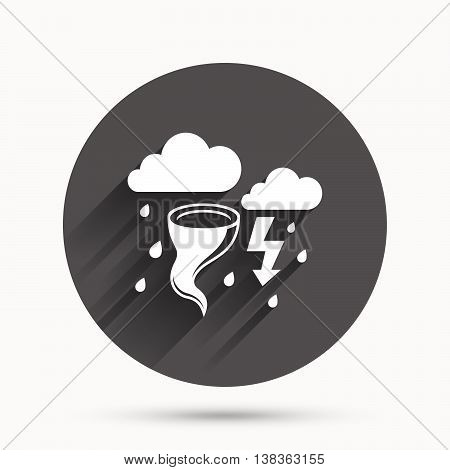 Storm bad weather sign icon. Clouds with thunderstorm. Gale hurricane symbol. Destruction and disaster from wind. Insurance symbol. Circle flat button with shadow. Vector