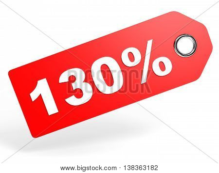 130 Percent Red Discount Tag On White Background.