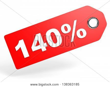 140 Percent Red Discount Tag On White Background.