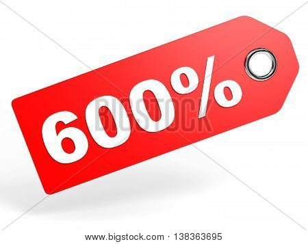 600 Percent Red Discount Tag On White Background.