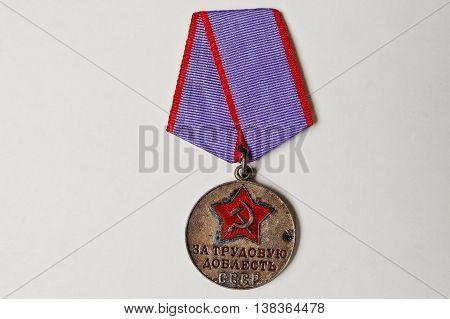 Soviet Medal For Valor On White Background