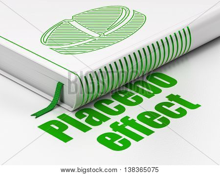 Health concept: closed book with Green Pill icon and text Placebo Effect on floor, white background, 3D rendering