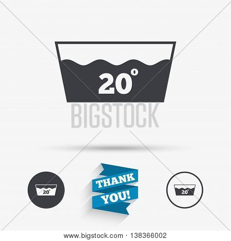 Wash icon. Machine washable at 20 degrees symbol. Flat icons. Buttons with icons. Thank you ribbon. Vector