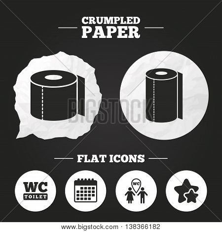 Crumpled paper speech bubble. Toilet paper icons. Gents and ladies room signs. Paper towel or kitchen roll. Man and woman symbols. Paper button. Vector