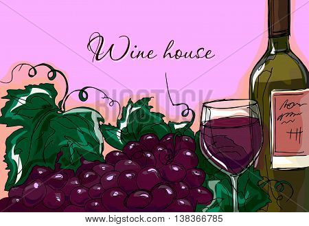Hand Drawing. Illustration Of A Bottle Of Wine And A Bunch Of Grapes. Gastronomic Card.