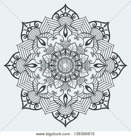 Floral mandala black and white vector design element.