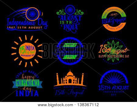 Vector illustration of India independence day. Felicitation 15th august. Greeting template for web or print emblem, badge, label, style logo design. Indian flag color element isolated on black