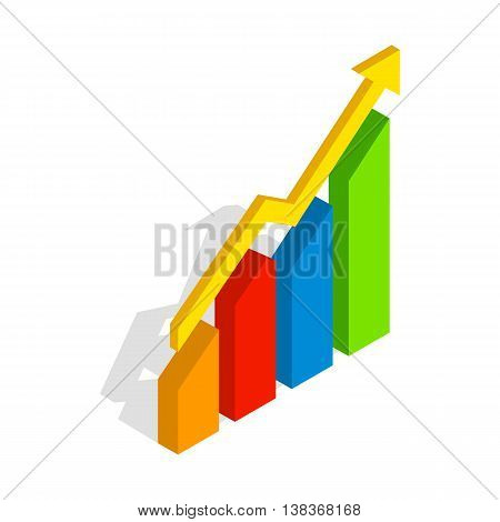 Chart arrow up icon in isometric 3d style isolated on white background. Compute symbol
