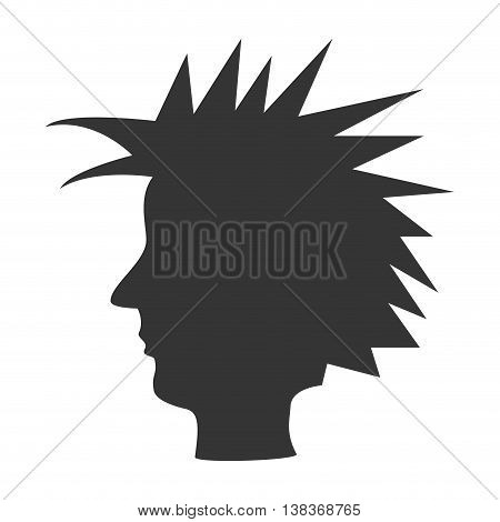 Punk with mohican head silhouette icon in black and white , vector illustration graphic design.