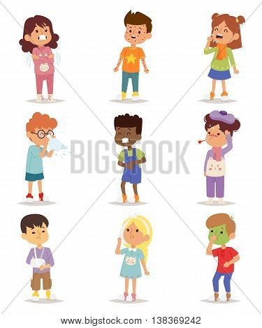 Children sick sickness disease little kids characters set. Flu problem health stick sick children figure pictogram icons. Sad influenza sick children little people hospital resting childcare.