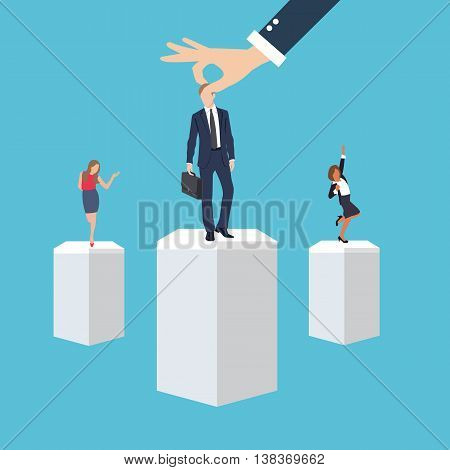 business management employee worker executive human resource put right man in the right place position select applicant during recruitment process vector