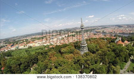 High look to the television tower of Praga