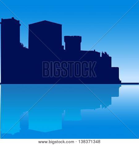 Vector illustration Mandelieu-la Napoule Castle South of France