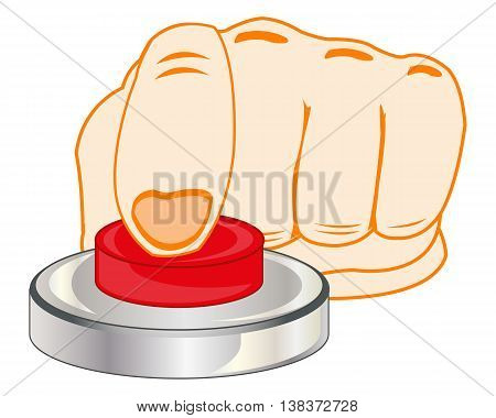 The Finger of the person pressing redden button.Vector illustration