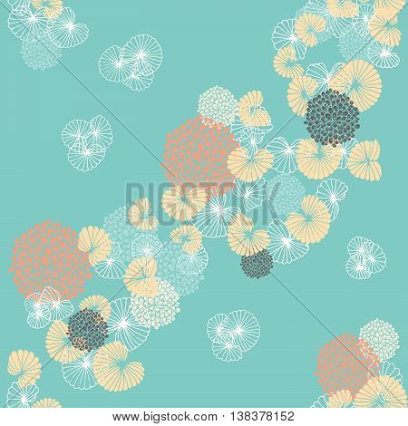 Cockles and Mussels on Teal Seamless Pattern