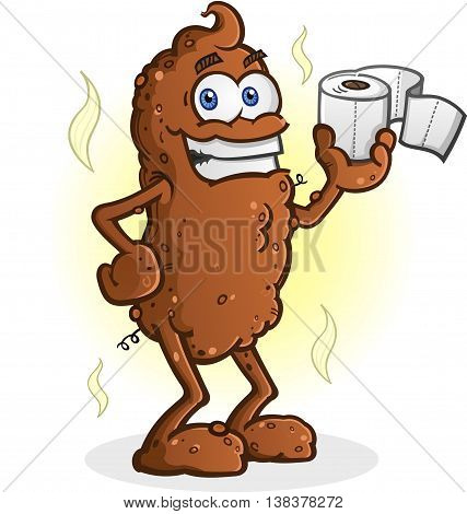 Poop Cartoon Character Standing and Holding Toilet Paper