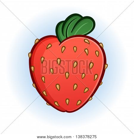 Big Fresh Plump Juicy Strawberry Cartoon Illustration