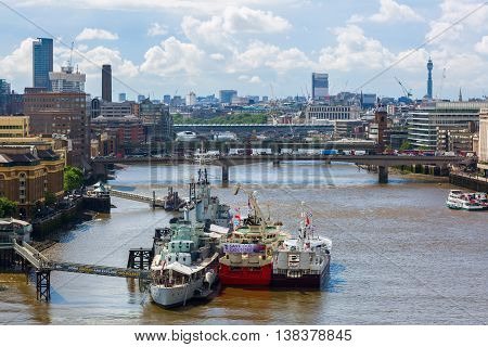 City View Of London Over River Thames In London, Uk