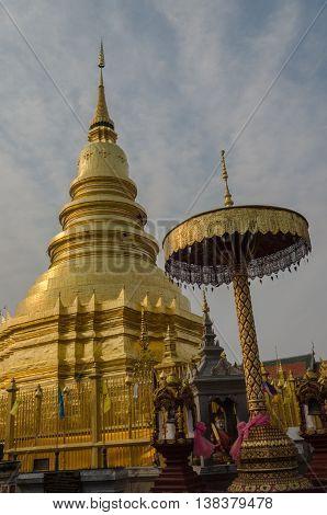 Haripunchai Temple, Lampoon, Thailand. .