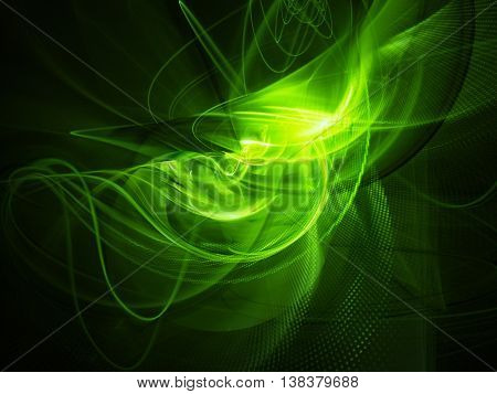 Abstract background element. Fractal graphics series. Three-dimensional composition of glowing lines and halftone effects. Bio energy concept.Green and black colors.