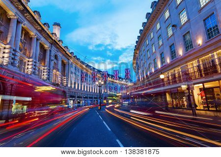 Regent Street In London, Uk, At Night