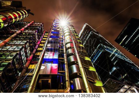 Lloyds Building In London, Uk, At Night