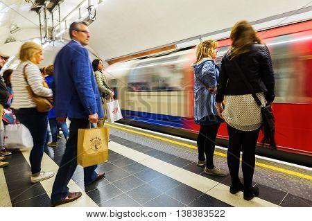 Platform Of An Underground Station In London, Uk