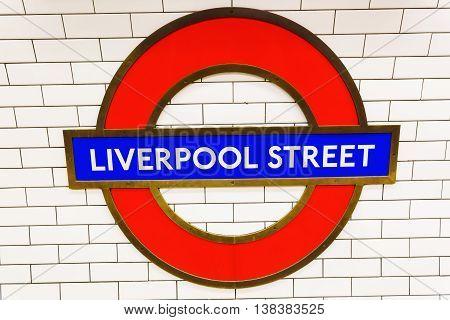 London UK - June 18 2016: logo of an underground station in London. The London Underground is the oldest underground of the world.