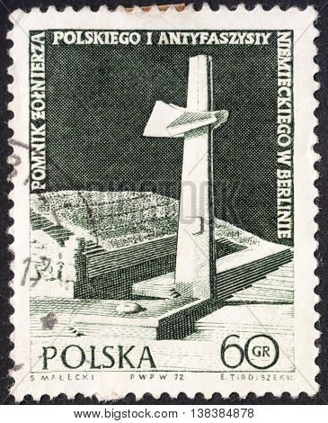 MOSCOW RUSSIA - CIRCA JANUARY 2016: a post stamp printed in POLAND shows Anti-fascist monument in Berlin devoted to the 27th anniversary of the end of World War II crca 1972