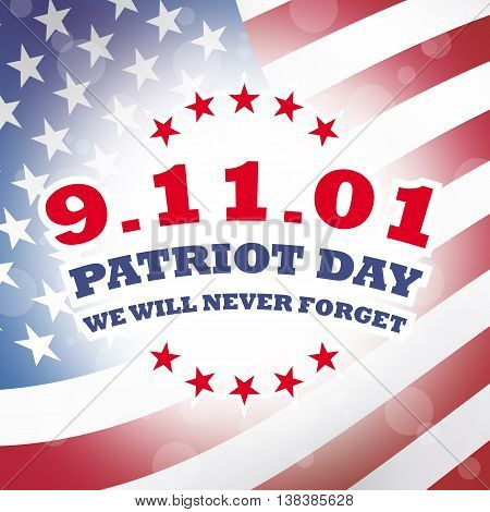 America Patriot Day - september 11 2001 banner with american flag background