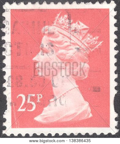 MOSCOW RUSSIA - JANUARY 2016: a post stamp printed in the UNITED KINDOM shows a portrait of Portrait of Queen Elizabeth II circa 1970 - 1977