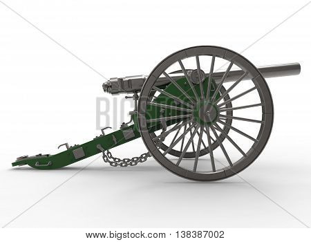 3d illustration of civil war cannon. white background isolated. murder weapon. explosive shot. field artillery