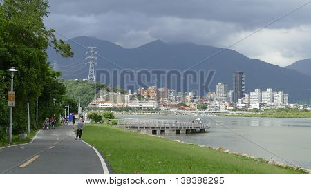 Nice View Of Taipei Central River Bike Path, Taiwan