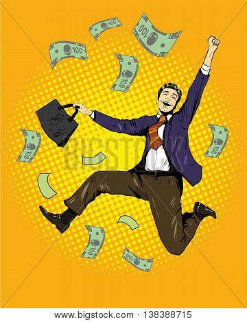 Man dancing with money flying around. Vector illustration in retro comic pop art style. Business and financial success concept.